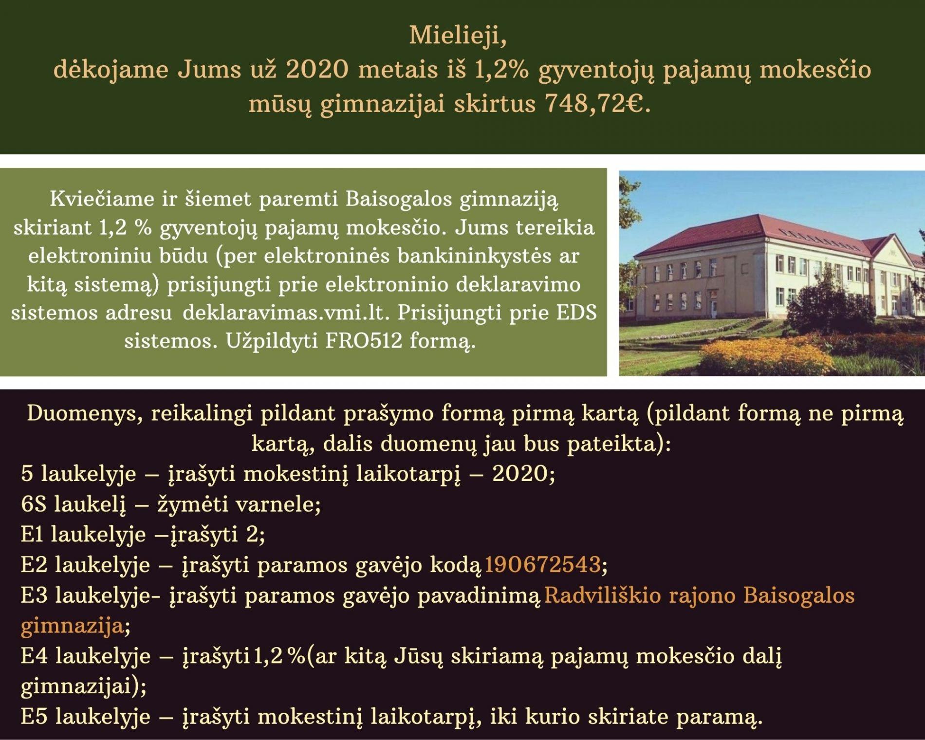 Mielieji, dėkojame Jums už 2020 metais iš 1,2% gyventojų pajamų mokesčio mūsų gimnazijai skirtus 748,72€. Šios lėšos, Gimnazijos tarybai pritarus, buvo panaudotos: įsigyta 33vnt. atmintukų ( 305,72€ ), įsigyta 13 vnt. dėžučių, skirtų mokinių telefonams